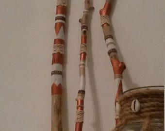 Hand painted stick grigri drift wood