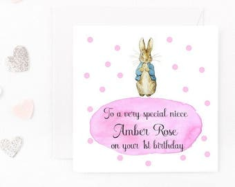 Personalised Girls Birthday Card, Peter Rabbit Birthday Card, Baby Girl Birthday Card Beatrix Potter Card Daughter, Niece, Granddaughter