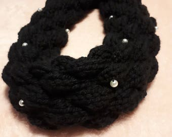Black cowl scarf with pearls
