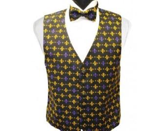 Mardi Gras Fleur de lis Tuxedo Vest and Bow Tie
