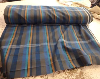100% Polyester plaid poplin navy and tan