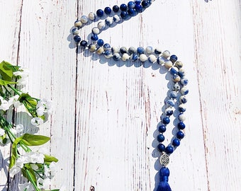 Sodalite Mala • Lapis Lazuli Mala Necklace • Prayer Beads • Japa Mala • Yoga Jewelry • Knotted Mala • Tassel Necklace • Meditation Necklace