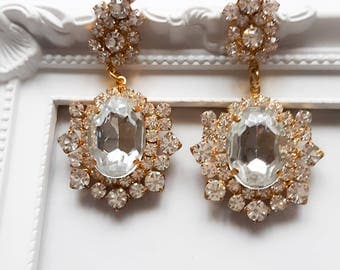 Earrings pierced with crystals Swarovski and Preciosa gold plated