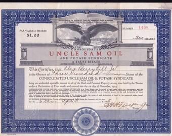 Stock Certificate, Large vignette Eagle Design