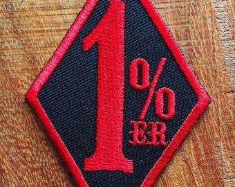 New One Percenter 1%er Red biker outlaw motorcycle gang applique iron-on patch
