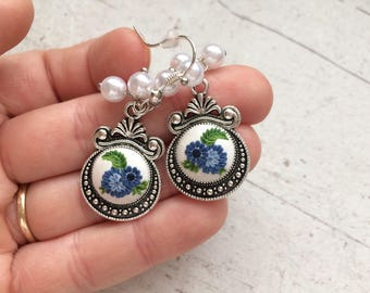 Blue floral earings, dangle polymer clay earings