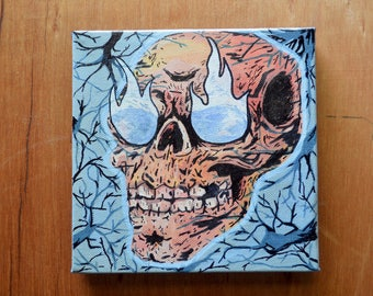 Original Skull Macabre Lowbrow Surreal Acrylic Oil Painting