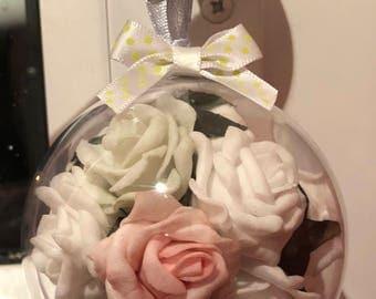 Handmade floral decoration/pink and white gift/Flower Door decoration/bedroom door sign/wardrobe door arrangement/wall decoration