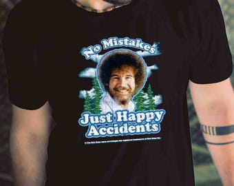 Bob Ross No Mistakes Just Happy Accidents Shirt Mens T Shirt Gift Men Shirt
