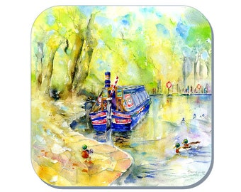 Cromford Canal - Narrow Boats coaster (Corked Back). From an original Sheila Gill Watercolour Painting