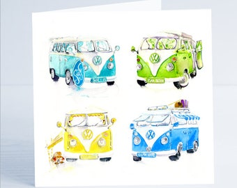 Summer Holiday VW Camper  - Greeting Card - Taken from an original watercolour by Sheila Gill