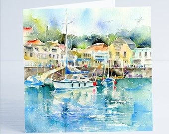 Padstow Yacht Cornwall - Greeting Card by Sheila Gill