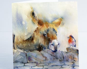 Bob & Rob - Donkey and Robin  - Greeting Card - Taken from an original Sheila Gill Watercolour Painting.