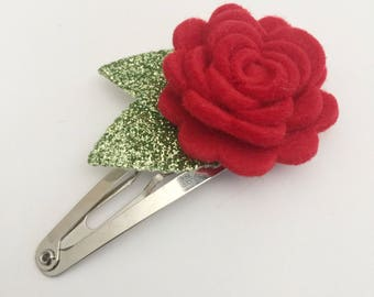 Red Flower Snap Clip - Wool Felt - Snap Clips - 50mm Clips -