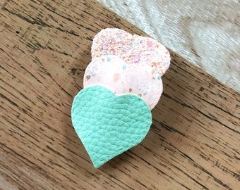 Rain Clouds Hearts Snap Clip - Faux Leather - Snap Clips - 50mm Clips - 2.5 inches - Chunky Glitter - Hair Bows
