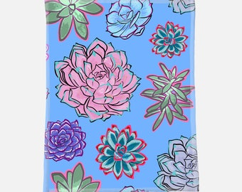 "Gorgeous Succulent Illustrations - 30""x40"" Minky Blanket - Baby Blanket - Newborn Gift - Babyshower Gift - Baby Gift"