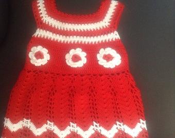 Crochet dress,crochet baby girls dress,hand made dress,crochet baby clothes,