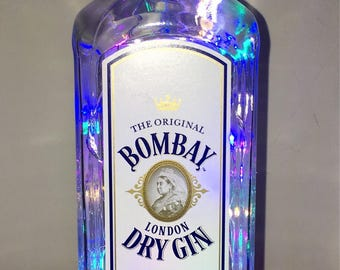 Bombay London Dry Gin 70cl Bottle UK mains LED Lamp