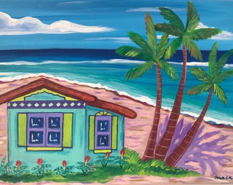 Beach front. Original Acrylic Painting. Caribbean House. Palm Trees. Whimsical painting.