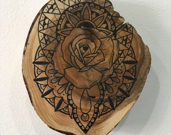 Mandala and rose on cedar