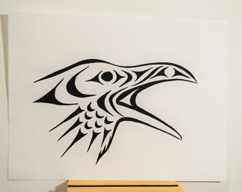 "Coast Salish Raven cawing design painting 9"" x 12"""