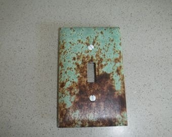 Teal, Rustic, Metal Pattern Switch Plate