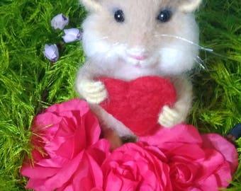 Needle felted hamster 13 cm hight