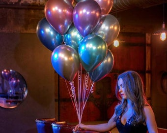 10 High Quality Chrome Balloons