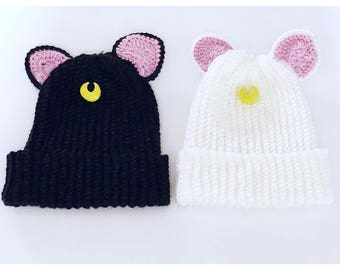 Luna and Artemis Sailor Moon Inspired Ribbed Beanies Nerdy Crochet Handmade