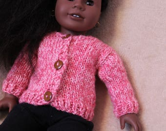 Hand-Knit Pink 18-Inch Doll Sweater