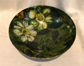 Vintage 1960s Floral Fiberglass Salad Bowl