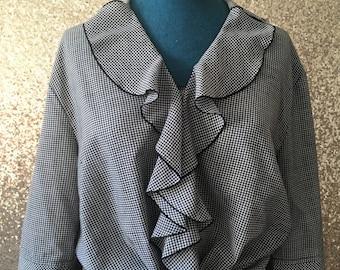 vintage black and white gingham ruffled blouse