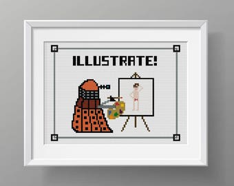 "Dr Who Cross Stitch Pattern ""Illustrate!"", Modern Cross Stitch, Doctor Who"