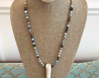 Amazonite beaded antler tip necklace