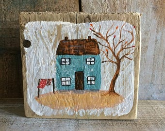 Cottage, Acrylic on driftwood, Nautical
