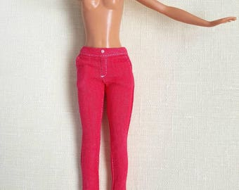 Clothes for Barbie. Red jeans for  Barbie.