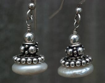 Coin Pearls Bali Dangle Earrings Sterling Silver One-Of-A-Kind Hand-Crafted Laura Brothers