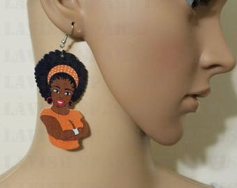 African Wood Earrings- Afrocentric Jewelry- Afro Woman Earrings- Natural Hair Jewelry- Afrocentric Earrings - Ethnic Earrings Afro earrings