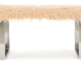 Faux Fur Pink and Chrome Minimalist Shiny Ottoman