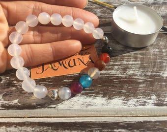White agate Bracelet and 7 chakra stones, stone bracelet, white bracelet, energy bracelet, elastic bracelet