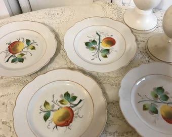 Vintage White Plates with Fruit