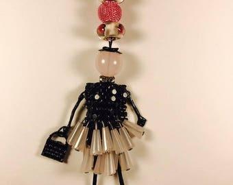 Pink silk ribbon,silk ribbon necklace, silk ribbon with pendant, doll pendant, casual