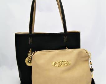 Black Tote with inner Handbag Embellished with Vintage Indian Appliques, Filigree and Doll Tassel