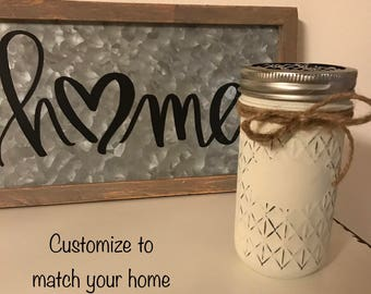 Toothbrush Holder/Bathroom Set/Painted Jar/Mason Jar Decor/Rustic Decor/Bathroom Decor/Rustic Home Decor/Farmhouse Decor