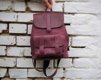 Leather Backpack, women leather backpack, leather rucksack, leather bag, leather backpack women
