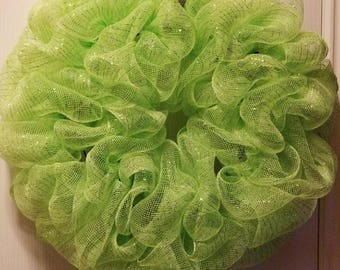 Light Green Deco Mesh Wreath