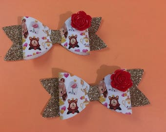 Beauty and the beast belle hair clips