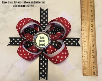 Custom Hair Bow, Personalized Photo Barrette, Custom Hair Accessory, Customized Photo Barette, Polka Dot Bow, Personalized Hair Bow, Red Bow
