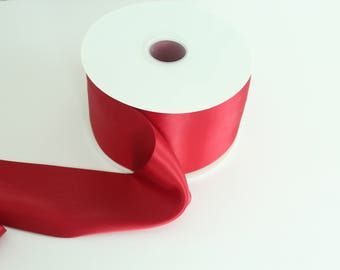 Crimson Double Faced Satin Ribbon By The Yard / Wholesale Ribbon By The Yard / Ribbon By The Yard / Bridal Ribbon / Craft Ribbon / Crimson