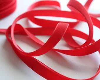 3/8 inch Poppy Red Velveteen Ribbon by the Yard / 10 MM Velveteen Ribbon / Velvet / Poppy Red / ER-V235